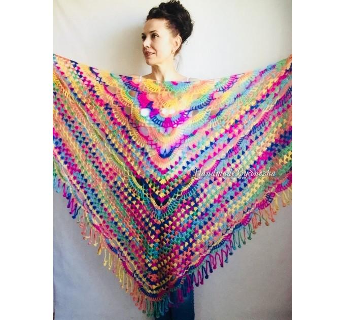 Crochet Shawl Fringe Mohair Rainbow Hand Knit Gay Pride Wedding Gift Wool Lace Triangle Shawl Wrap Bridal Bohemian Shawl Red White Black  Shawl / Wraps  1