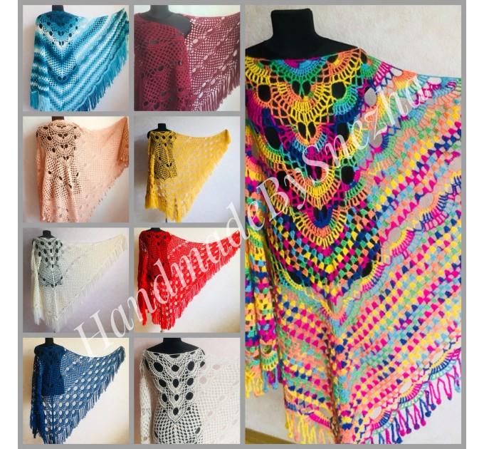 Crochet Shawl Fringe Mohair Rainbow Hand Knit Gay Pride Wedding Gift Wool Lace Triangle Shawl Wrap Bridal Bohemian Shawl Red White Black  Shawl / Wraps  2