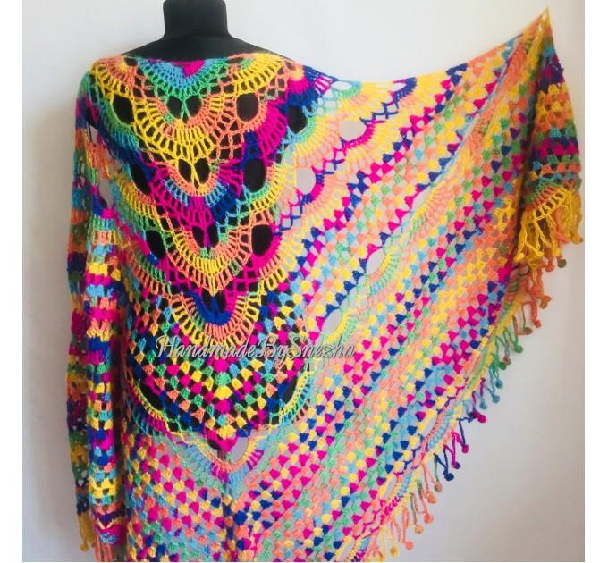 Crochet Shawl Fringe Mohair Rainbow Hand Knit Gay Pride Wedding Gift Wool Lace Triangle Shawl Wrap Bridal Bohemian Shawl Red White Black  Shawl / Wraps  4