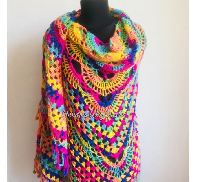 Crochet Shawl Fringe Mohair Rainbow Hand Knit Gay Pride Wedding Gift Wool Lace Triangle Shawl Wrap Bridal Bohemian Shawl Red White Black  Shawl / Wraps  5
