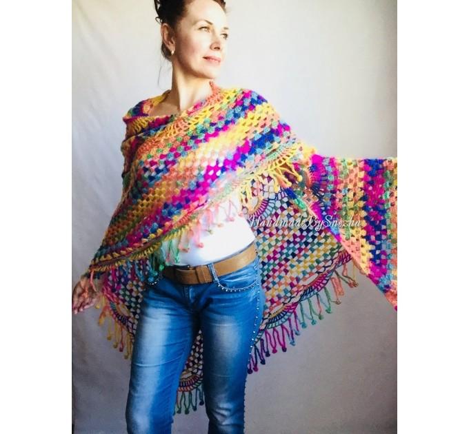 Crochet Shawl Fringe Mohair Rainbow Hand Knit Gay Pride Wedding Gift Wool Lace Triangle Shawl Wrap Bridal Bohemian Shawl Red White Black  Shawl / Wraps  6