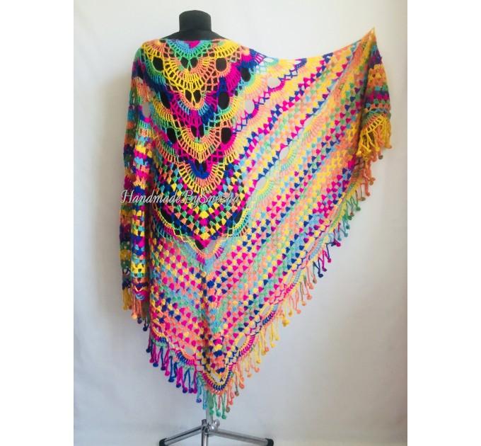 Crochet Shawl Fringe Mohair Rainbow Hand Knit Gay Pride Wedding Gift Wool Lace Triangle Shawl Wrap Bridal Bohemian Shawl Red White Black  Shawl / Wraps  7