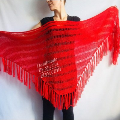 Knit Wedding Triangle Shawl Fringe Crochet Beige Wrap RED Mohair Scarf Boho Black Angora Shawl Wraps Scarf For Women Wool Shawl