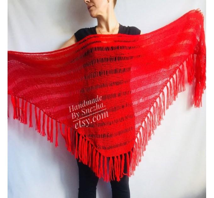 Knit Wedding Triangle Shawl Fringe Crochet Beige Wrap RED Mohair Scarf Boho Black Angora Shawl Wraps Scarf For Women Wool Shawl  Wedding  4