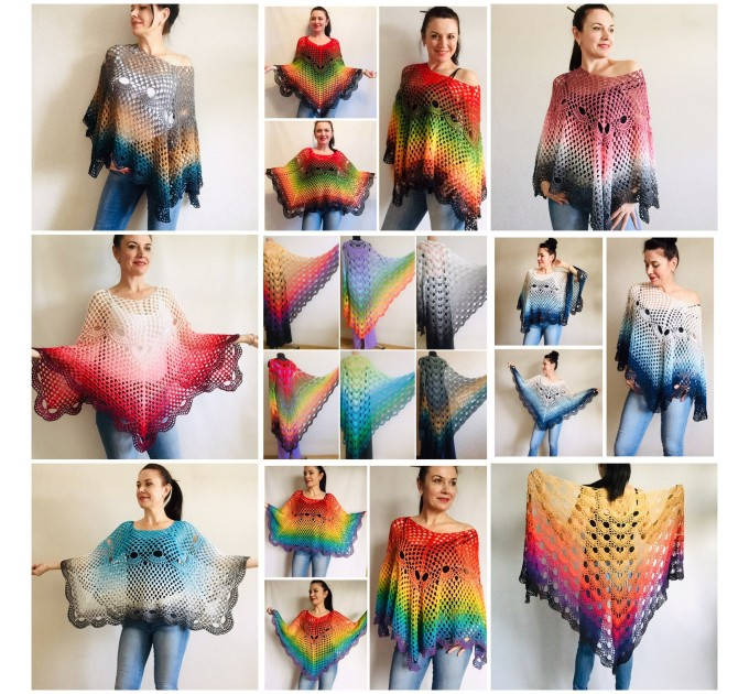 Crochet Poncho Women Boho Shawl Big Size Vintage Rainbow Cotton Boho Fringed Cape Hippie Gift for Her Bohemian Vibrant Colors Boat Neck  Poncho