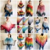 Crochet Poncho Women Boho Shawl Big Size Vintage Rainbow Cotton Boho Fringed Cape Hippie Gift for Her Bohemian Vibrant Colors Boat Neck