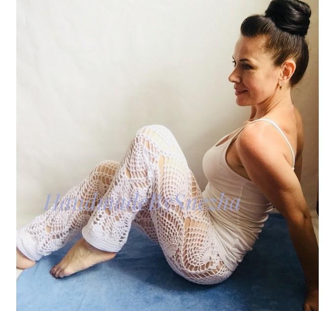 Wide Leg Pants Yoga Women Beach Cover Up Sexy Loose Cotton Pants Hippie Unique Lace Linen Pants Crochet White Black Gray Pineapple  Crochet Pants  4