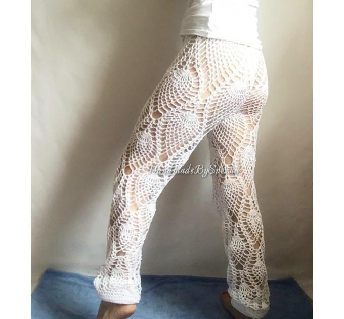 Wide Leg Pants Yoga Women Beach Cover Up Sexy Loose Cotton Pants Hippie Unique Lace Linen Pants Crochet White Black Gray Pineapple  Crochet Pants  5