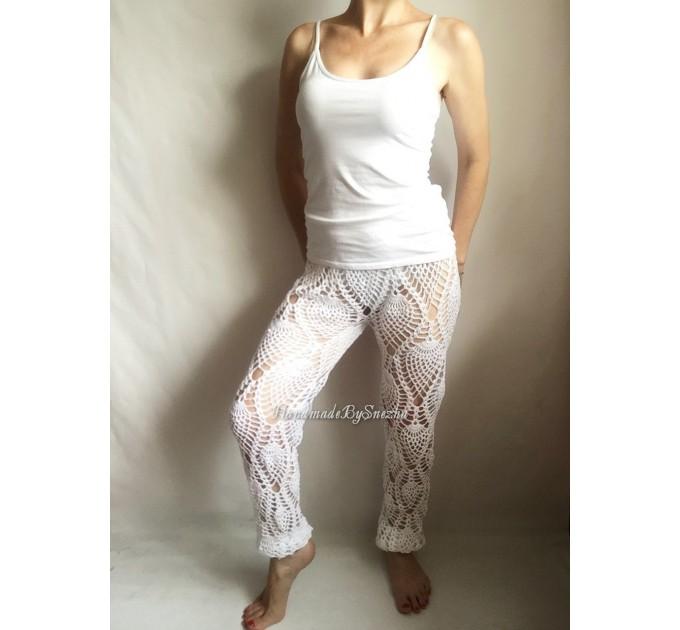 Wide Leg Pants Yoga Women Beach Cover Up Sexy Loose Cotton Pants Hippie Unique Lace Linen Pants Crochet White Black Gray Pineapple  Crochet Pants  6