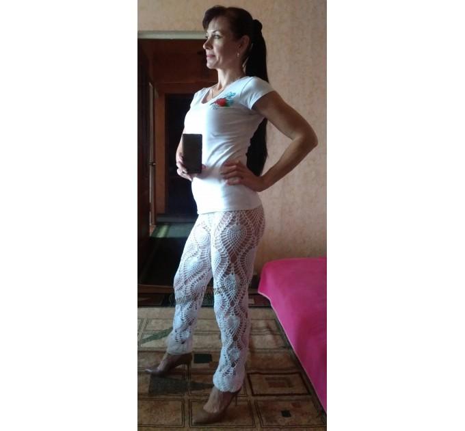 Wide Leg Pants Yoga Women Beach Cover Up Sexy Loose Cotton Pants Hippie Unique Lace Linen Pants Crochet White Black Gray Pineapple  Crochet Pants  8