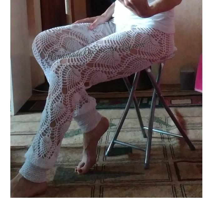 Wide Leg Pants Yoga Women Beach Cover Up Sexy Loose Cotton Pants Hippie Unique Lace Linen Pants Crochet White Black Gray Pineapple  Crochet Pants  9