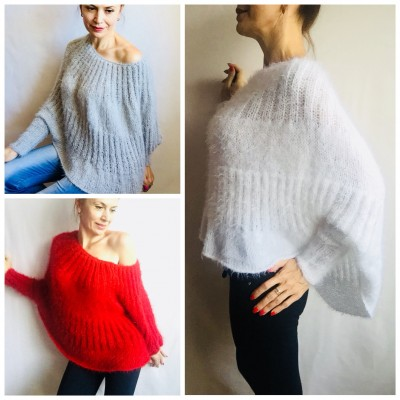 White Angora Sweater, Mohair Sweater, Loose Knit Sweater Poncho Woman, Oversized Sexy Wool Sweater Off Shoulder Faux Fur, Crochet Poncho