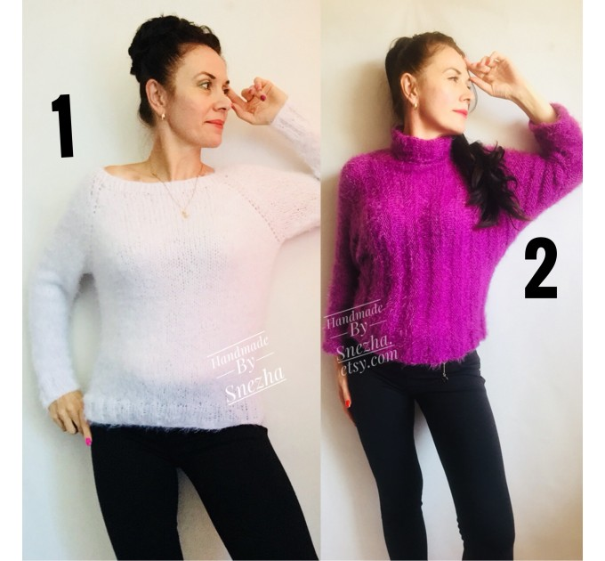 White Angora Sweater, Mohair Sweater, Loose Knit Sweater Poncho Woman, Oversized Sexy Wool Sweater Off Shoulder Faux Fur, Crochet Poncho  Sweater  7