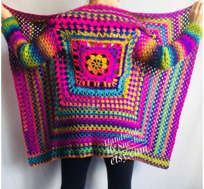 Rainbow Granny Square Crochet CARDIGAN Colourful Sweater Plus Size Boho Gypsy Clothing Vegan Coat Jacket Knit Vest Oversized Transformer  Jacket