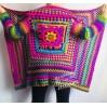 Rainbow Granny Square Crochet CARDIGAN Colourful Sweater Plus Size Boho Gypsy Clothing Vegan Coat Jacket Knit Vest Oversized Transformer
