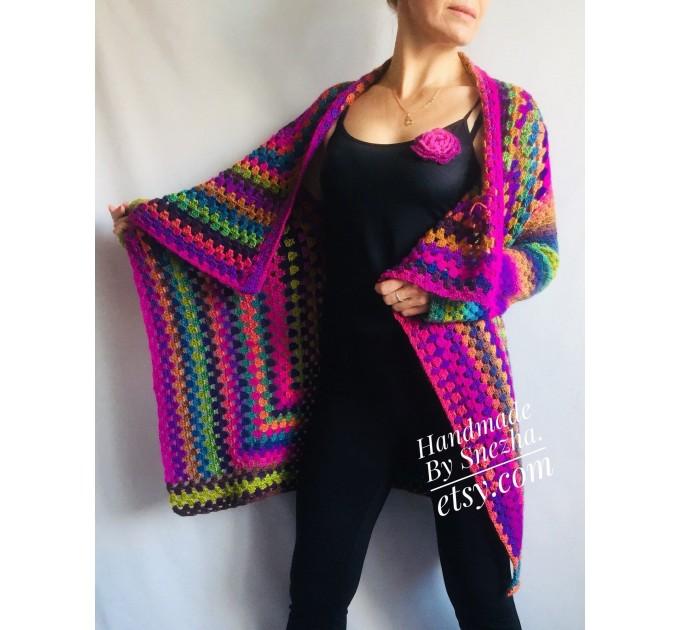 Rainbow Granny Square Crochet CARDIGAN Colourful Sweater Plus Size Boho Gypsy Clothing Vegan Coat Jacket Knit Vest Oversized Transformer  Jacket  2