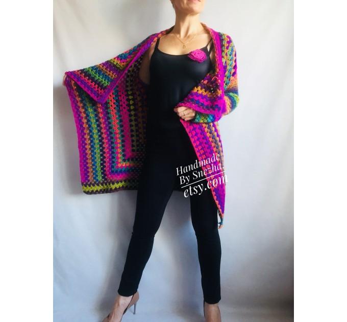 Rainbow Granny Square Crochet CARDIGAN Colourful Sweater Plus Size Boho Gypsy Clothing Vegan Coat Jacket Knit Vest Oversized Transformer  Jacket  3