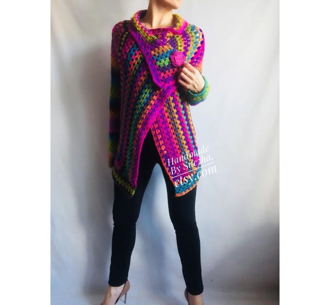 Rainbow Granny Square Crochet CARDIGAN Colourful Sweater Plus Size Boho Gypsy Clothing Vegan Coat Jacket Knit Vest Oversized Transformer  Jacket  4