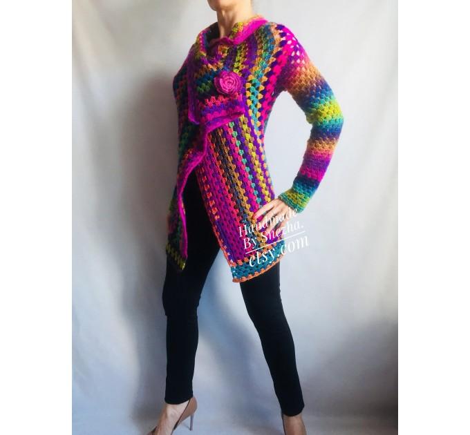 Rainbow Granny Square Crochet CARDIGAN Colourful Sweater Plus Size Boho Gypsy Clothing Vegan Coat Jacket Knit Vest Oversized Transformer  Jacket  5