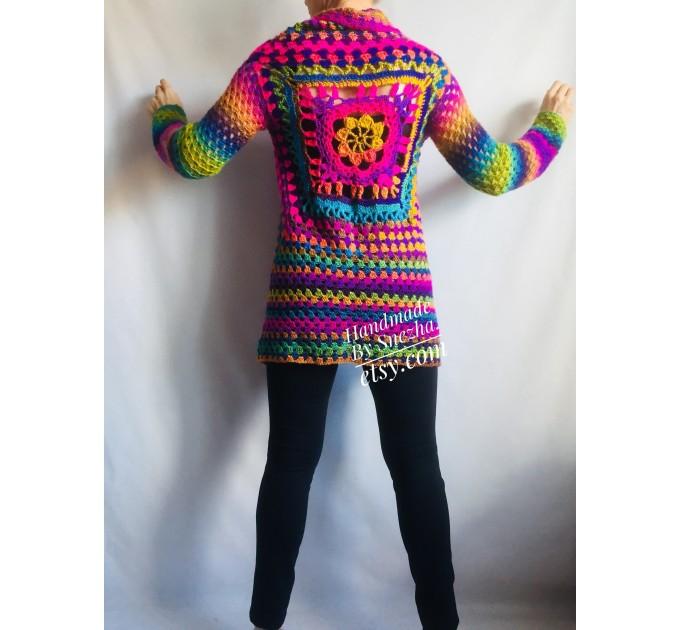 Rainbow Granny Square Crochet CARDIGAN Colourful Sweater Plus Size Boho Gypsy Clothing Vegan Coat Jacket Knit Vest Oversized Transformer  Jacket  7