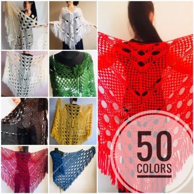 RED Crochet Shawl Fringe SHAWL BLACK Triangle Scarf Boho Shawl Women Evening Shawl Black Floral Scarf Hand Knit Scarf Lace Wool Knit Shawl