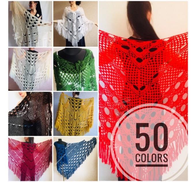 RED Crochet Shawl Fringe SHAWL BLACK Triangle Scarf Boho Shawl Women Evening Shawl Black Floral Scarf Hand Knit Scarf Lace Wool Knit Shawl  Shawl / Wraps  1