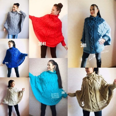 Hand knit Plus Size Poncho Sweater Crochet Poncho Loose Knit Sweater Gift for Women Chunky Knit Oversized Cape Coat Winter Long Wool Autumn