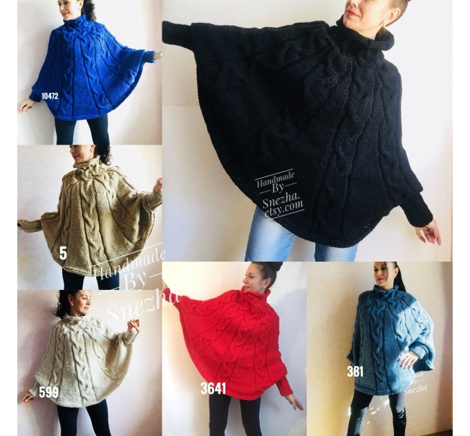 Hand knit Plus Size Poncho Sweater Crochet Poncho Loose Knit Sweater Gift for Women Chunky Knit Oversized Cape Coat Winter Long Wool Autumn  Poncho  2