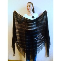 BLACK Crochet Shawl Wraps BOHO SHAWL Knit Wool Lace Mohair Shawl Gifts for Wife Fringe Shawl Bridal Wedding Black Mohair Triangle Scarf