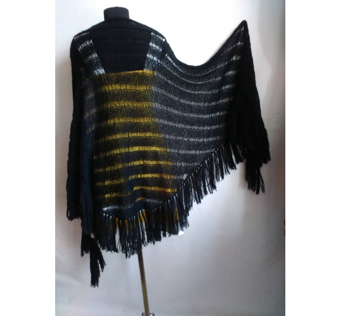 BLACK Crochet Shawl Wraps BOHO SHAWL Knit Wool Lace Mohair Shawl Gifts for Wife Fringe Shawl Bridal Wedding Black Mohair Triangle Scarf  Shawl / Wraps  6