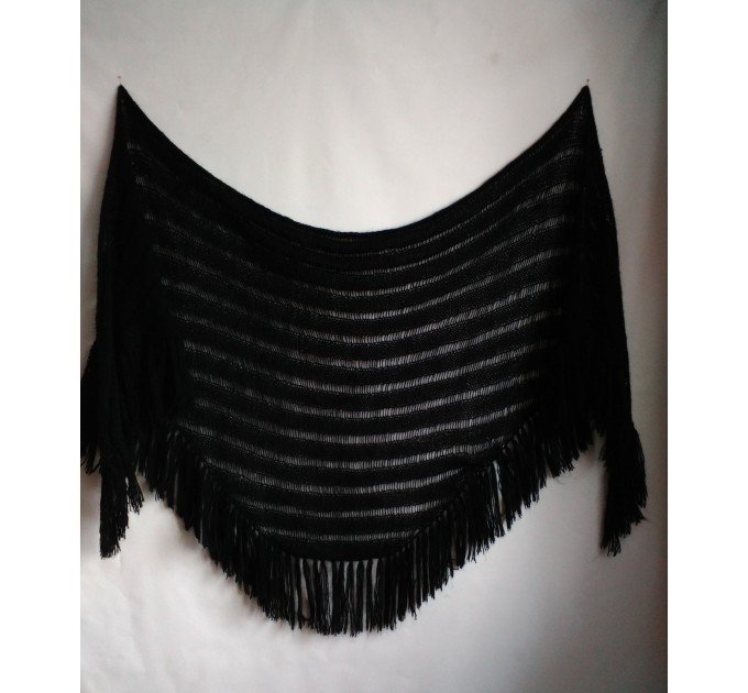 BLACK Crochet Shawl Wraps BOHO SHAWL Knit Wool Lace Mohair Shawl Gifts for Wife Fringe Shawl Bridal Wedding Black Mohair Triangle Scarf  Shawl / Wraps  5