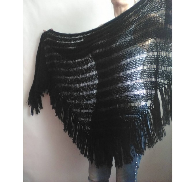 BLACK Crochet Shawl Wraps BOHO SHAWL Knit Wool Lace Mohair Shawl Gifts for Wife Fringe Shawl Bridal Wedding Black Mohair Triangle Scarf  Shawl / Wraps  4