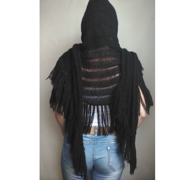 BLACK Crochet Shawl Wraps BOHO SHAWL Knit Wool Lace Mohair Shawl Gifts for Wife Fringe Shawl Bridal Wedding Black Mohair Triangle Scarf  Shawl / Wraps  3