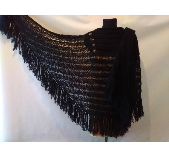 BLACK Crochet Shawl Wraps BOHO SHAWL Knit Wool Lace Mohair Shawl Gifts for Wife Fringe Shawl Bridal Wedding Black Mohair Triangle Scarf  Shawl / Wraps  2