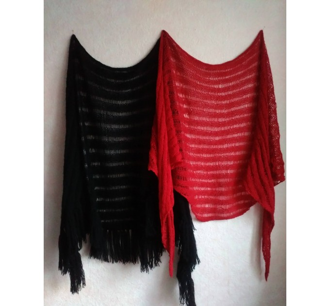 BLACK Crochet Shawl Wraps BOHO SHAWL Knit Wool Lace Mohair Shawl Gifts for Wife Fringe Shawl Bridal Wedding Black Mohair Triangle Scarf  Shawl / Wraps  9