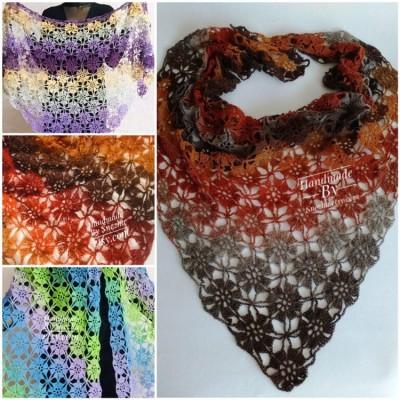 Burnt Orange Crochet Lace Shawl Wraps Grey Wool Shawl Lilac Boho Triangle Warm Scarf for Women Rainbow Floral Hand Knit Shawl Large