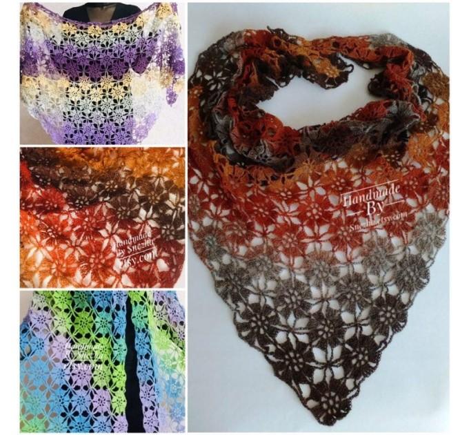 Burnt Orange Crochet Lace Shawl Wraps Grey Wool Shawl Lilac Boho Triangle Warm Scarf for Women Rainbow Floral Hand Knit Shawl Large  Shawl / Wraps