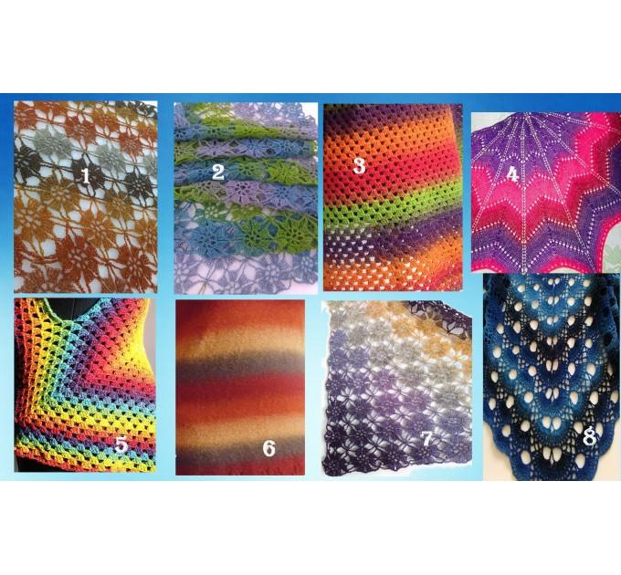 Burnt Orange Crochet Lace Shawl Wraps Grey Wool Shawl Lilac Boho Triangle Warm Scarf for Women Rainbow Floral Hand Knit Shawl Large  Shawl / Wraps  10