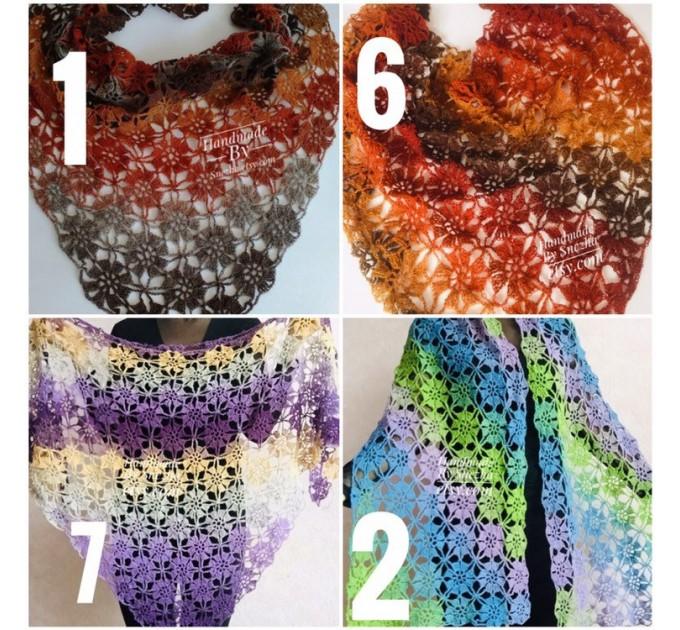 Burnt Orange Crochet Lace Shawl Wraps Grey Wool Shawl Lilac Boho Triangle Warm Scarf for Women Rainbow Floral Hand Knit Shawl Large  Shawl / Wraps  2