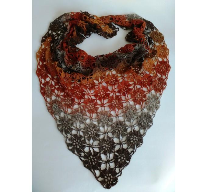 Burnt Orange Crochet Lace Shawl Wraps Grey Wool Shawl Lilac Boho Triangle Warm Scarf for Women Rainbow Floral Hand Knit Shawl Large  Shawl / Wraps  4