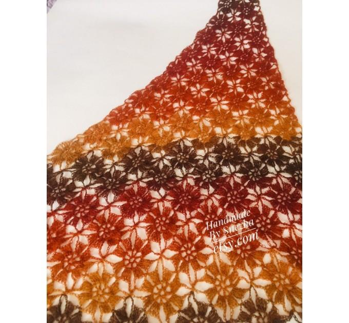Burnt Orange Crochet Lace Shawl Wraps Grey Wool Shawl Lilac Boho Triangle Warm Scarf for Women Rainbow Floral Hand Knit Shawl Large  Shawl / Wraps  6