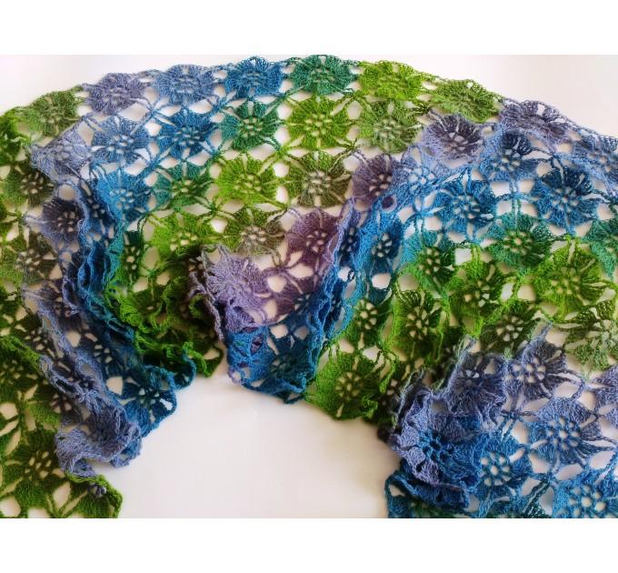 Burnt Orange Crochet Lace Shawl Wraps Grey Wool Shawl Lilac Boho Triangle Warm Scarf for Women Rainbow Floral Hand Knit Shawl Large  Shawl / Wraps  7