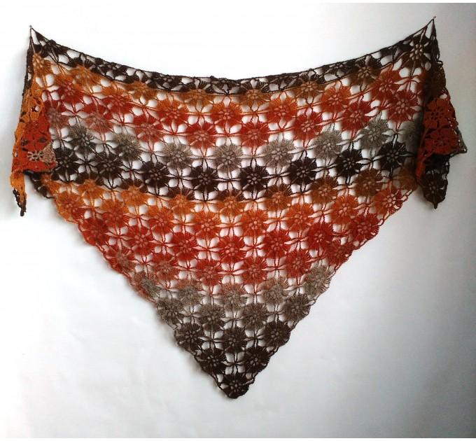 Burnt Orange Crochet Lace Shawl Wraps Grey Wool Shawl Lilac Boho Triangle Warm Scarf for Women Rainbow Floral Hand Knit Shawl Large  Shawl / Wraps  8