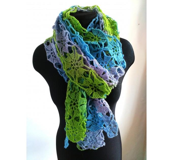 Burnt Orange Crochet Lace Shawl Wraps Grey Wool Shawl Lilac Boho Triangle Warm Scarf for Women Rainbow Floral Hand Knit Shawl Large  Shawl / Wraps  9