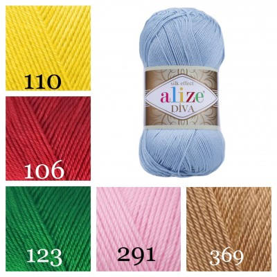 ALIZE DIVA Silk Effect Yarn Crochet Microfiber Acrylic Lace Hand Knitting Yarn Swimwear bikini Bag Multicolor Summer Rainbow Yarn Striping