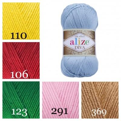 ALIZE DIVA Silk Effect Yarn Crochet Microfiber Acrylic Lace Hand Knitting Yarn Swimwear bikini Bag Multicolor Summer Rainbow Yarn Striping