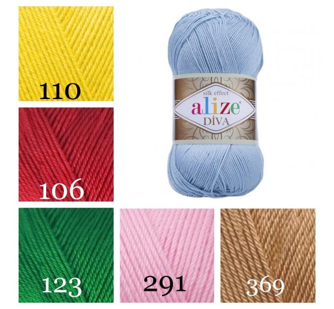 ALIZE DIVA Silk Effect Yarn Crochet Microfiber Acrylic Lace Hand Knitting Yarn Swimwear bikini Bag Multicolor Summer Rainbow Yarn Striping  Yarn  6