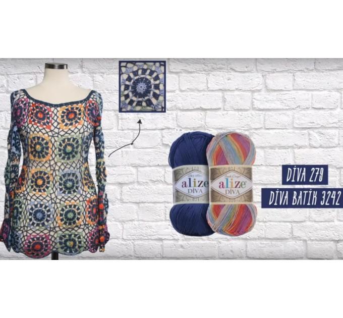 ALIZE DIVA Silk Effect Yarn Crochet Microfiber Acrylic Lace Hand Knitting Yarn Swimwear bikini Bag Multicolor Summer Rainbow Yarn Striping  Yarn  1