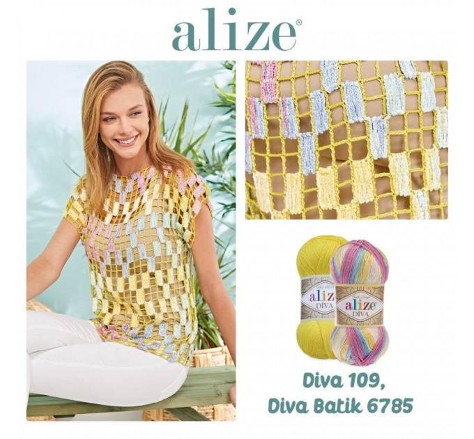 ALIZE DIVA Silk Effect Yarn Crochet Microfiber Acrylic Lace Hand Knitting Yarn Swimwear bikini Bag Multicolor Summer Rainbow Yarn Striping  Yarn  3