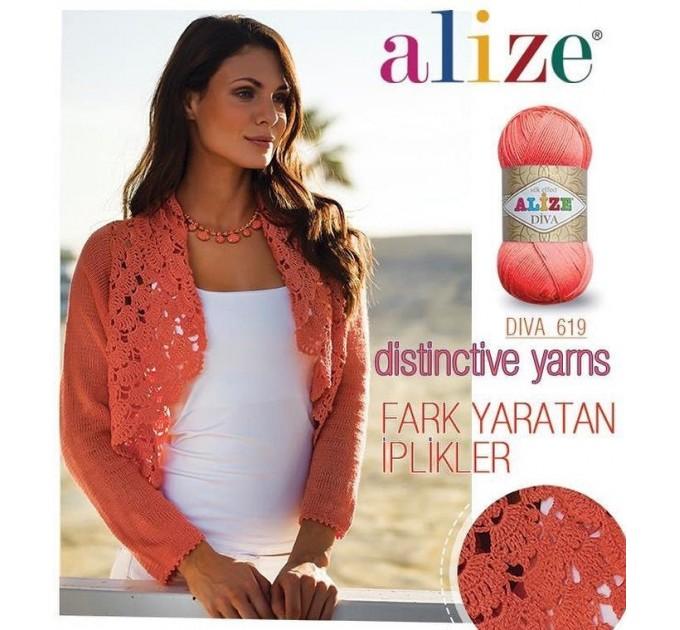 ALIZE DIVA Silk Effect Yarn Crochet Microfiber Acrylic Lace Hand Knitting Yarn Swimwear bikini Bag Multicolor Summer Rainbow Yarn Striping  Yarn  2